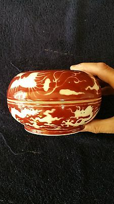 Jewellery bowl wih lid Ming Chenghua years Chinese Antique