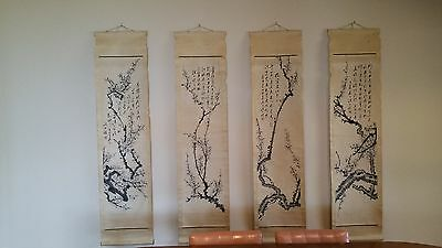 Plum Four Pieces by Wang Shi Shen Chinese Antique Scrolls