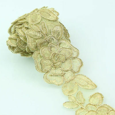 Flower Lace Vintage Style Gold Tone Wedding Dress Sewing Lace Craft DIY 2 Yards