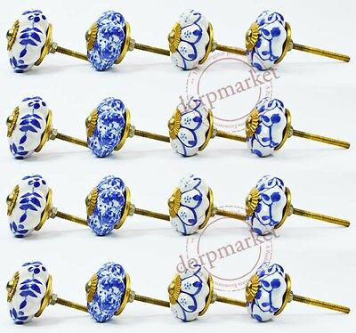 16 Pcs Blue & White  Color Kitchen / dress Ceramic Knobs Cupboard drawer Pull
