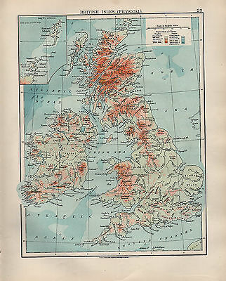 1904 Antique Map ~ British Isles Physical ~ Land Heights Highlands Pennines