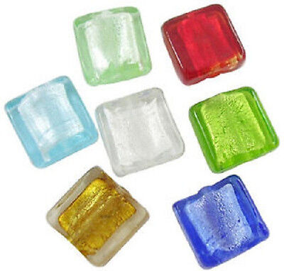 10 x Silver Foil Glass Square Beads ~Assorted Colours ~ 12mm