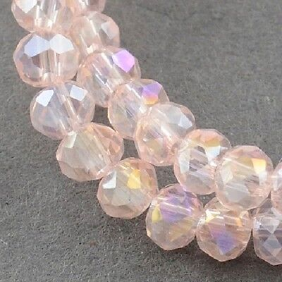 100 pcs RONDELLE FACETED GLASS CRYSTAL BEADS 6mm Jewellery Making  Pale Pink AB