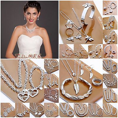 Christmas Gift New Solid925 SILVER Jewelry Ring Bracelet Necklace Earring Sets
