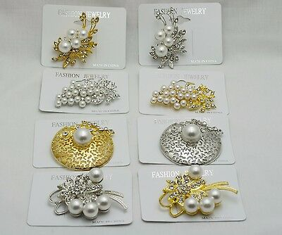 8 pcs wedding style Brooches Silver//gold//white color pearl  fashion Bouquet