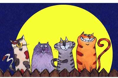 Alley CATS Lighted by FULL MOON - Kitty WindowCling Decal Sticker FREE Shipping