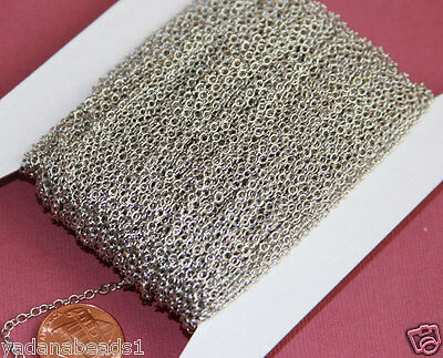 200ft of Antiqued Silver plated Brass round cable chain 2X2.5mm