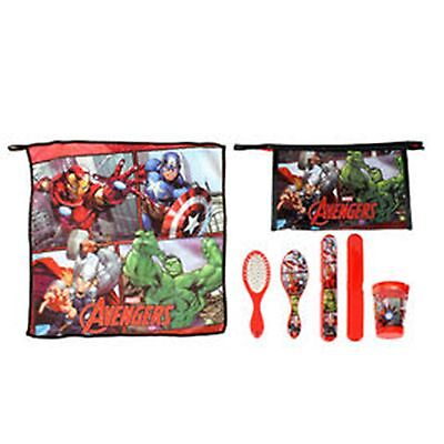 Marvel AVENGERS 5pc Child Health - Towel, Cup, Toothbrush Cover, Brush, Bag