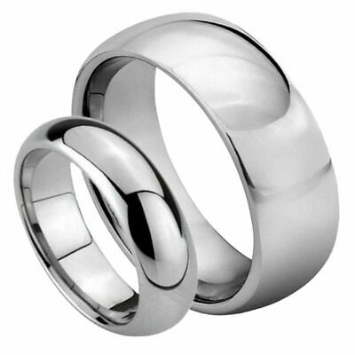 His & Her's 8MM/6MM Tungsten Carbide Classic Domed Shiny Wedding Band Ring set
