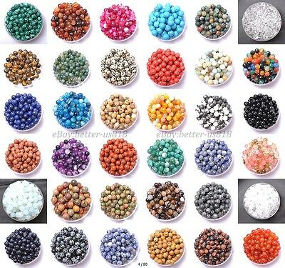 100Pcs Natural Gemstone Round Charms Spacer Loose Beads 4MM 6MM 8MM 10MM