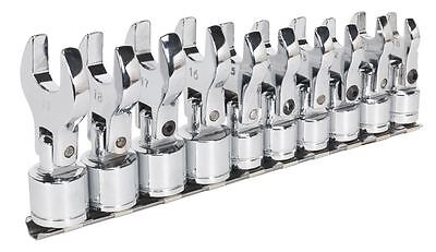 """SIEGEN S01043 Flexible Crow's Foot Open End Spanner Set 10pc 3/8"""" MADE BY SEALEY"""