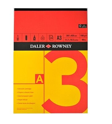 DALER ROWNEY RED AND YELLOW GUMMED PAD - A3 (150gsm)