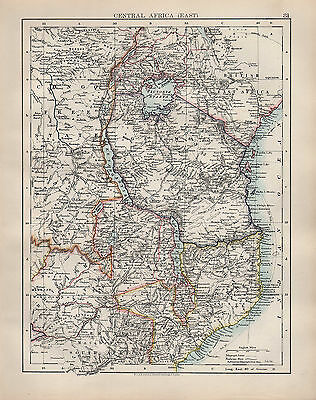 1904 Antique Map ~ Central Africa East ~ Congo Free State British Central ~