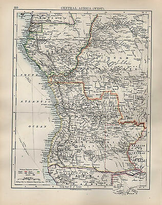 1904 Antique Map ~ Central Africa West ~ Congo Free State European Possessions
