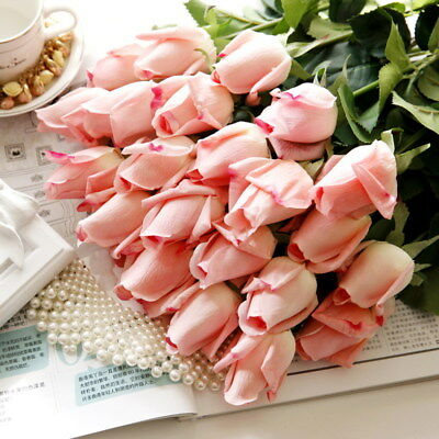 10 / 20 Head Real Touch Latex Rose Bud Flowers For Home Decor Wedding Bouquet