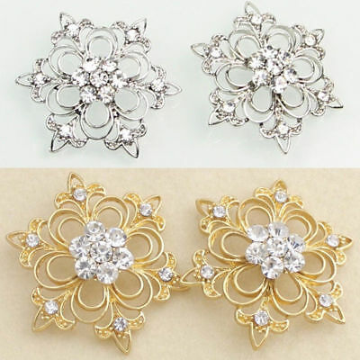 2 Pcs Clear Rhinestone Crystal Silver / Gold Tone Snowflake Shank Alloy Buttons
