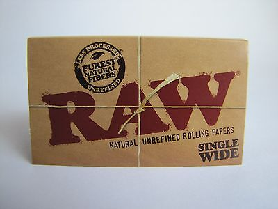Raw Single Wide Natural Unbleached Rolling Papers-6 Books=600 Papers