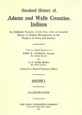 1918 ADAMS & WELLS County Indiana IN, History and Genealogy Ancestry DVD B36