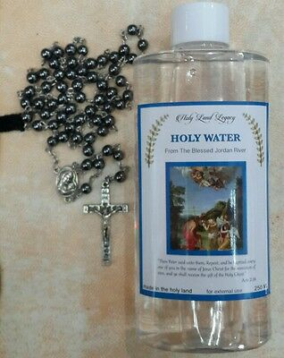 Holy water from the Jordan river 250 ml and a stone hamatite beads cross rosary