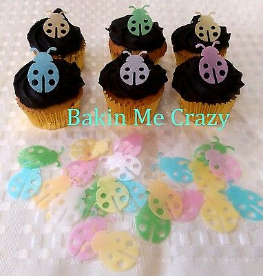 40 Edible Cupcake Topper Lady Beetle Lady Bug Cake Decoration Mixed Colour Opt