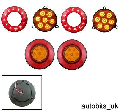 2 X Rear Tail Stop Indicator Amber Red Smd Led Lights Inner Outer Ring 12V Truck
