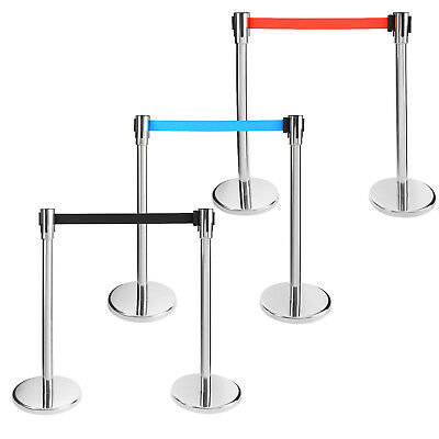 2 x Queue Way Crowd Control Barriers Retractable Barrier Crowd Barriers + Belt
