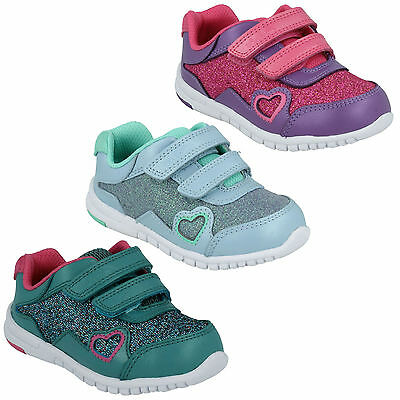 Azon Maze Infant Girls Clarks Hook & Loop Glitter Casual Trainers Shoes Size