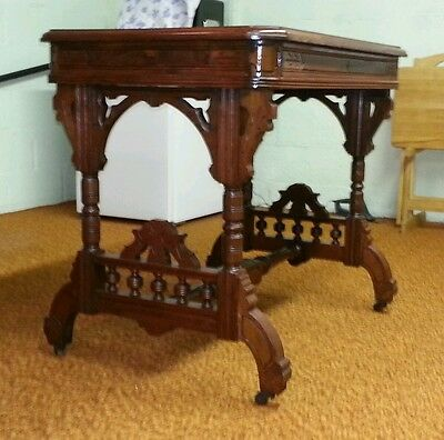 REDUCED! MUSEUM QUALITY Burlwood Leather Top Writing Table Desk