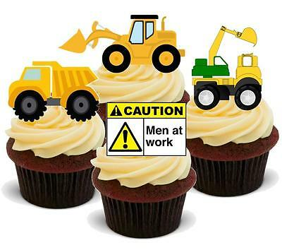 NOVELTY DIGGERS MIX Men At Work STAND UP Edible Cake Toppers JCB Boys Birthday