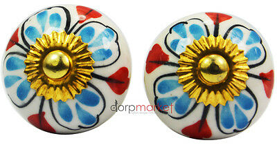 12 Pcs Blue & Red Pretty Design Kitchen/dress Ceramic Knobs Cupboard drawer Pull