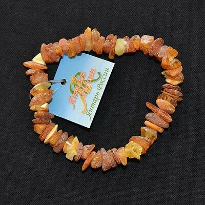 Raw Genuine Baltic Amber Bracelet Unpolished Adult Honey Yellow Handmade Eco