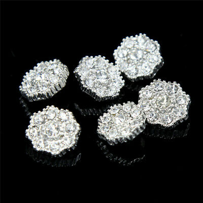 Flower Sewing Shank Buttons Rhinestone Silver Tone Faux Pearl Craft 6 / 20 Pcs