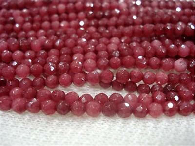 6mm Brazil Faceted Red Ruby Round Gems Loose Beads 15""
