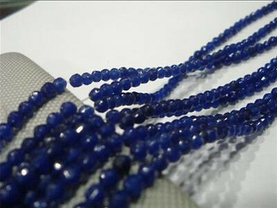 "4mm Faceted Blue Sapphire Gemstone Loose Beads 15"" AA"