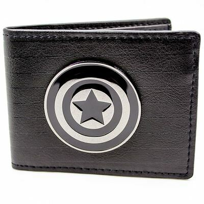 New Official Cool Silver Marvel Captain America Symbol Black Bi-Fold Wallet