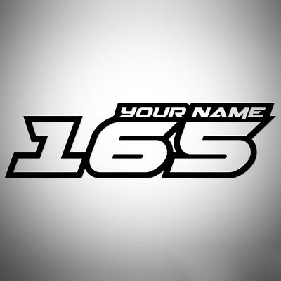 4x CUSTOM RACE NUMBERS AND NAME STICKERS DECALS MOTOCROSS DIRT BIKE TRIALS MX V1