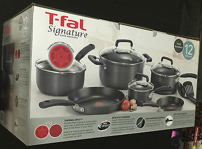T-fal D913SC Signature Hard Anodized Nonstick 12 Piece Cookware Tefal Gray Gift