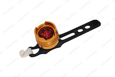 Waterproof Red LED Gold Cycling Bicycle Bike 3 Mode Rear Tail Light Torch Lamp