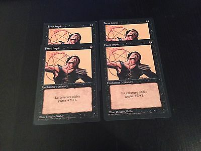 Mtg Magic 3Edt Black Border Unholy Strengh (French Force Impie) Nm X4