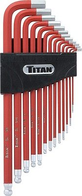 "Titan Tools 12713 13 Piece Extra Long Arm Ball End Hex Key Set SAE  1/16"" - 3/8"""