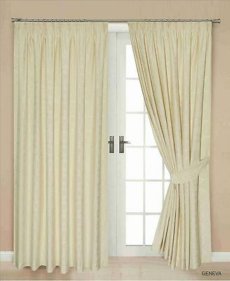 Jacquard Lined Thermal Pencil Pleat Pair Of Curtains, Cream Gevan