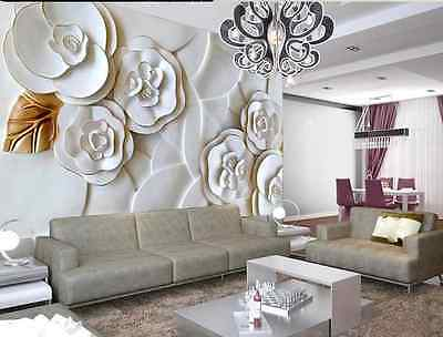 3D White Embossed Flowers  Paper Wall Print Decal Wall Deco Indoor wall Murals