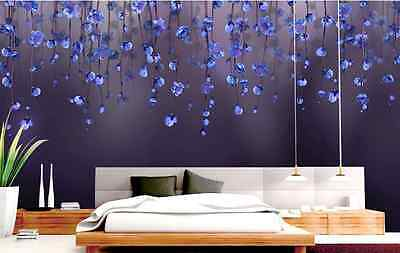 3D Red And Blue Flower Vine Paper Wall Print Decal Wall Deco Indoor wall Murals