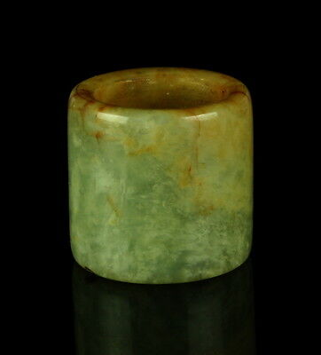 Antique Qing Dynasty Chinese Carved Celadon & Russet Jade Archer's Ring
