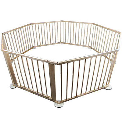 Baby Kids Deluxe Adjustable 8 Panels Natural Colour Wooden Playpen Safety Gate
