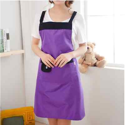 New Fashion Womens Kitchen Restaurant Bib Cooking Aprons Pockets Bowknot 24Color