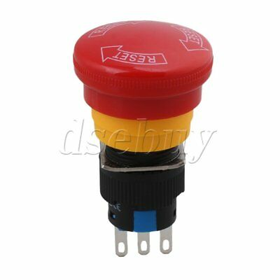 Red Mushroom Cap 1NO 1NC Emergency Stop Push Button Switch 250V 6A 16mm Hole