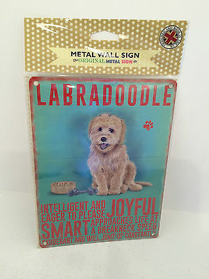 Vintage Retro Metal Wall Plaque Sign Labradoodle Dog Gift
