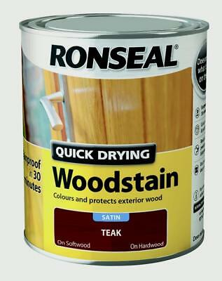 Ronseal Quick Drying Woodstain - Satin Teak - 750ml - Rainproof in 30 minutes