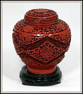 """UNIQUE """"Chinese Cinnabar Ginger Jar"""" with Hand Carved Wooden Stand"""